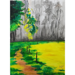 grass trail, 12 x 16 inch, priyanshu sharma,12x16inch,drawing paper,paintings,landscape paintings,paintings for dining room,paintings for living room,paintings for bedroom,paintings for office,paintings for hotel,paintings for school,paintings for hospital,watercolor,GAL0973630437