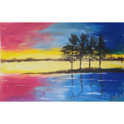 picturesque evening, 12 x 8 inch, priyanshu sharma,12x8inch,drawing paper,paintings,landscape paintings,art deco paintings,paintings for dining room,paintings for living room,paintings for bedroom,paintings for office,paintings for hotel,paintings for school,paintings for hospital,acrylic color,GAL0973630438