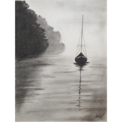 sailboat, 10 x 14 inch, priyanshu sharma,10x14inch,drawing paper,drawings,art deco drawings,paintings for dining room,paintings for living room,paintings for bedroom,paintings for office,paintings for hotel,paintings for school,paintings for hospital,charcoal,GAL0973630441