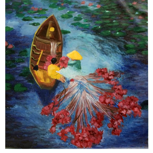 lotus pond, 25 x 29 inch, mehul  halpati,25x29inch,canvas,paintings,abstract paintings,flower paintings,landscape paintings,nature paintings | scenery paintings,impressionist paintings,paintings for dining room,paintings for living room,paintings for bedroom,paintings for office,paintings for bathroom,paintings for kids room,paintings for hotel,paintings for kitchen,paintings for school,paintings for hospital,acrylic color,GAL0507130449