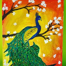 a beautiful peacock, 16 x 20 inch, nibha jain,16x20inch,canvas,paintings,wildlife paintings,animal paintings,acrylic color,GAL01092530452