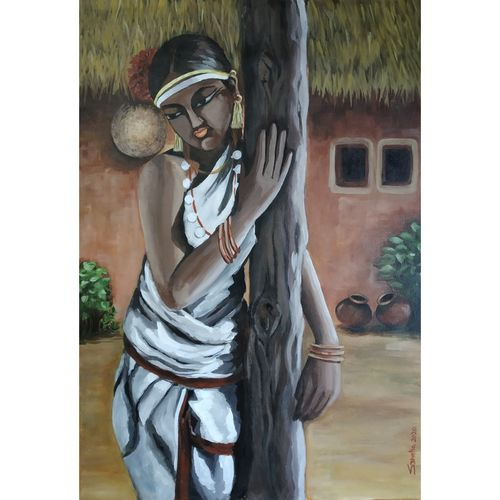 indian tribal woman, 24 x 34 inch, sheetal bhatia,24x34inch,canvas,paintings,figurative paintings,acrylic color,GAL01681930464