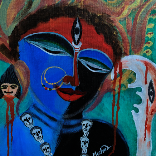 kali - the dark goddess, 35 x 45 inch, lopamudra ghosh,35x45inch,canvas,paintings,abstract paintings,figurative paintings,folk art paintings,religious paintings,portrait paintings,paintings for dining room,paintings for living room,paintings for bedroom,paintings for hotel,acrylic color,GAL01878830465