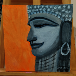 stone buddha, 30 x 30 inch, lopamudra ghosh,30x30inch,canvas,paintings,abstract paintings,buddha paintings,figurative paintings,folk art paintings,religious paintings,portrait paintings,paintings for dining room,paintings for living room,paintings for bedroom,paintings for office,paintings for kids room,paintings for hotel,paintings for school,paintings for hospital,acrylic color,GAL01878830466