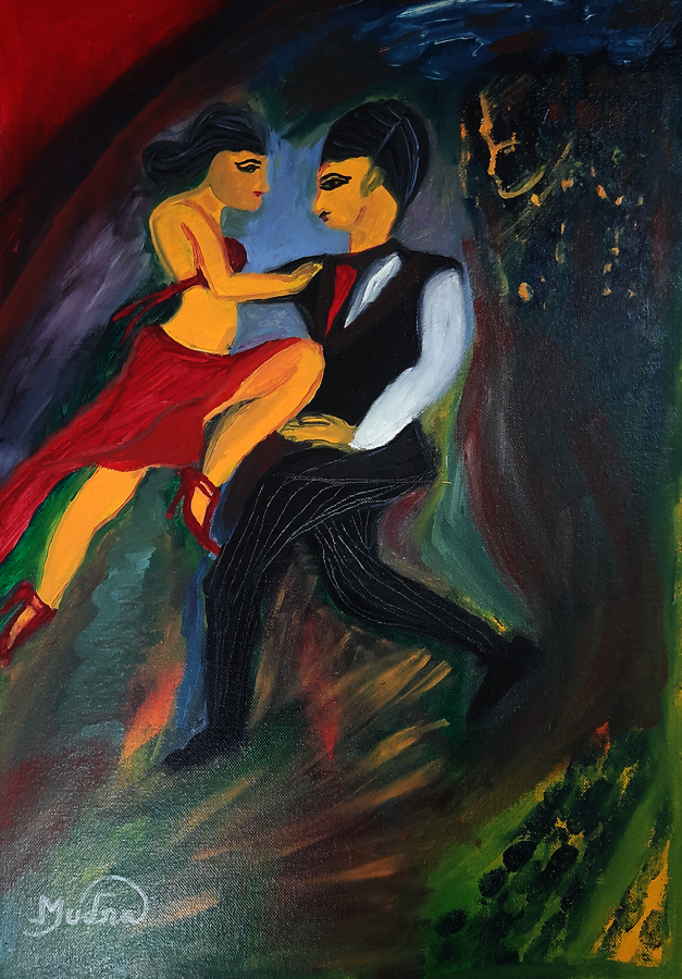 two to tango, 40 x 60 inch, lopamudra ghosh,40x60inch,canvas,paintings,abstract paintings,figurative paintings,modern art paintings,portrait paintings,paintings for dining room,paintings for living room,paintings for bedroom,paintings for office,paintings for hotel,paintings for school,oil color,GAL01878830472