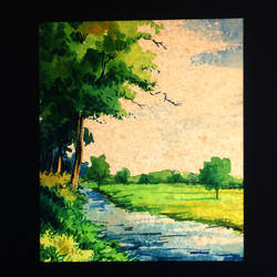 village river, 12 x 16 inch, suresh venugopal,12x16inch,handmade paper,paintings,water fountain paintings,watercolor,GAL01889130473
