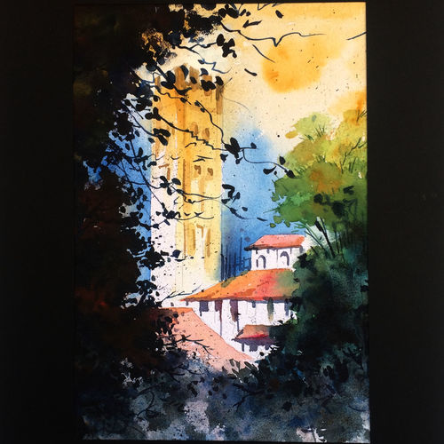 light house , 12 x 16 inch, suresh venugopal,12x16inch,handmade paper,paintings,water fountain paintings,watercolor,GAL01889130474