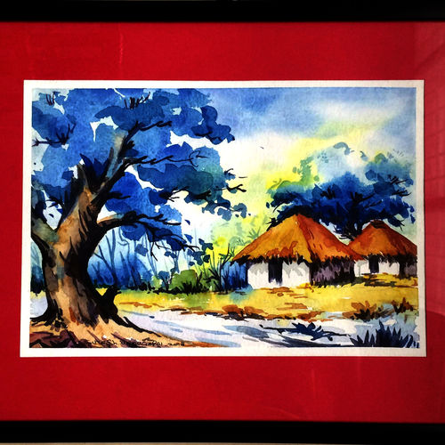 village home, 12 x 16 inch, suresh venugopal,12x16inch,handmade paper,paintings,water fountain paintings,watercolor,GAL01889130475