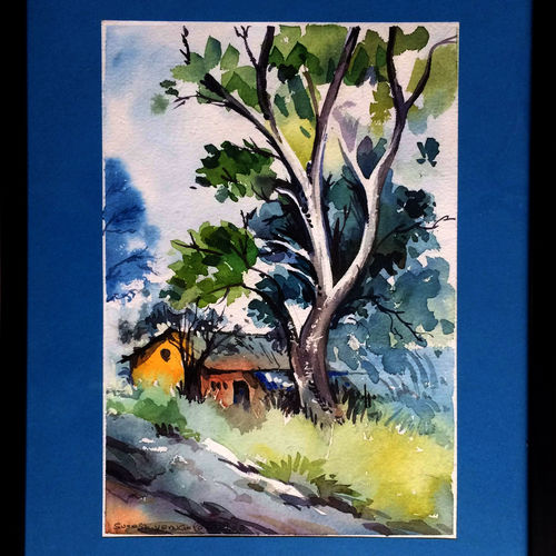 village home, 12 x 16 inch, suresh venugopal,12x16inch,handmade paper,paintings,water fountain paintings,watercolor,GAL01889130476