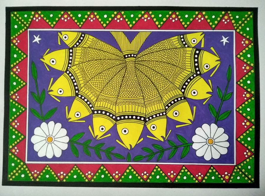 eleven fish madhubani painting, 14 x 10 inch, geeta kwatra,14x10inch,drawing paper,paintings,madhubani paintings   madhubani art,paintings for living room,paintings for hotel,acrylic color,mixed media,GAL0899130479