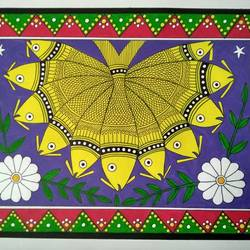 eleven fish madhubani painting, 14 x 10 inch, geeta kwatra,14x10inch,drawing paper,paintings,madhubani paintings | madhubani art,paintings for living room,paintings for hotel,acrylic color,mixed media,GAL0899130479