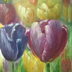 tulips, 18 x 22 inch, aneesa rani,flower paintings,paintings for living room,canvas board,oil,18x22inch,GAL010683048