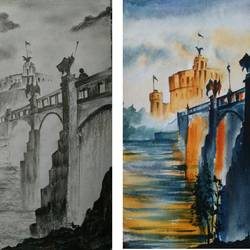old bridge, 15 x 11 inch, shankhadeep  mondal,15x11inch,handmade paper,paintings,landscape paintings,multi piece paintings,paintings for dining room,paintings for living room,paintings for bedroom,paintings for office,paintings for kids room,paintings for hotel,paintings for kitchen,paintings for school,paintings for hospital,charcoal,pencil color,watercolor,GAL01403030486