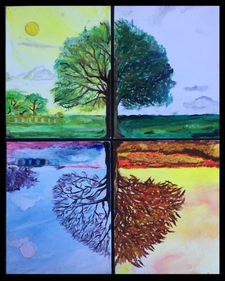 seasons and colours, 18 x 22 inch, swetha srinivasan,multi piece paintings,vertical,canvas,oil paint,18x22inch,GAL012013049