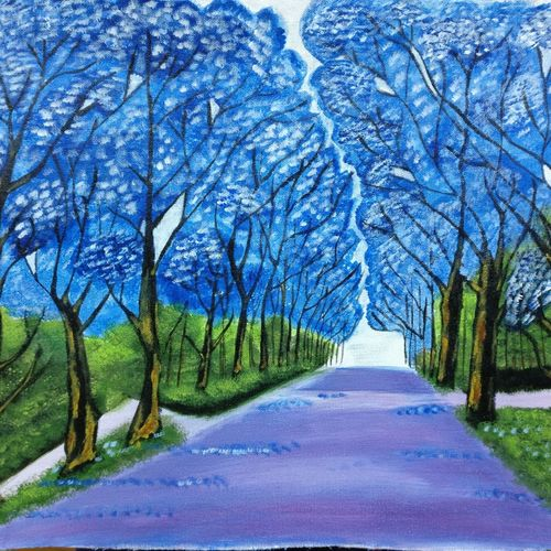 lonely walk in a garden., 22 x 16 inch, ananya amara,22x16inch,canvas,paintings,photorealism drawings,portrait drawings,paintings for living room,paintings for bedroom,acrylic color,GAL01861630490