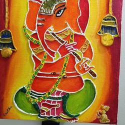 musical ganesha clay mural, 8 x 10 inch, kritika srivastava,8x10inch,canvas,paintings,religious paintings,acrylic color,GAL01893030492