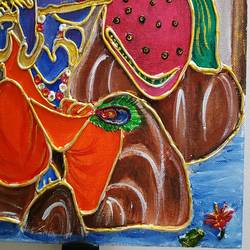 radha krishna clay mural painting, 10 x 12 inch, kritika srivastava,10x12inch,canvas,paintings,religious paintings,acrylic color,GAL01893030497