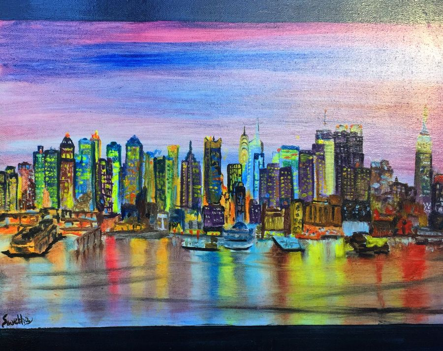 new york lights, 20 x 16 inch, swetha srinivasan,cityscape paintings,paintings for living room,canvas,oil paint,20x16inch,GAL012013050