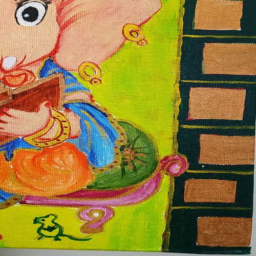natkhat bal ganesha , 10 x 12 inch, kritika srivastava,10x12inch,canvas,paintings,religious paintings,acrylic color,GAL01893030501