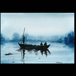 boat with fisherman, 16 x 12 inch, suresh venugopal,16x12inch,handmade paper,paintings,water fountain paintings,watercolor,GAL01889130503