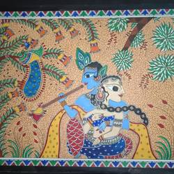 madhubni radha krishna, 22 x 15 inch, meenakshi  karanwal,22x15inch,handmade paper,paintings,madhubani paintings | madhubani art,paintings for living room,paintings for hotel,acrylic color,GAL01835830508
