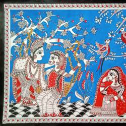madubani -  raas leela, 22 x 15 inch, meenakshi  karanwal,22x15inch,handmade paper,paintings,madhubani paintings | madhubani art,paintings for living room,paintings for hotel,acrylic color,GAL01835830509