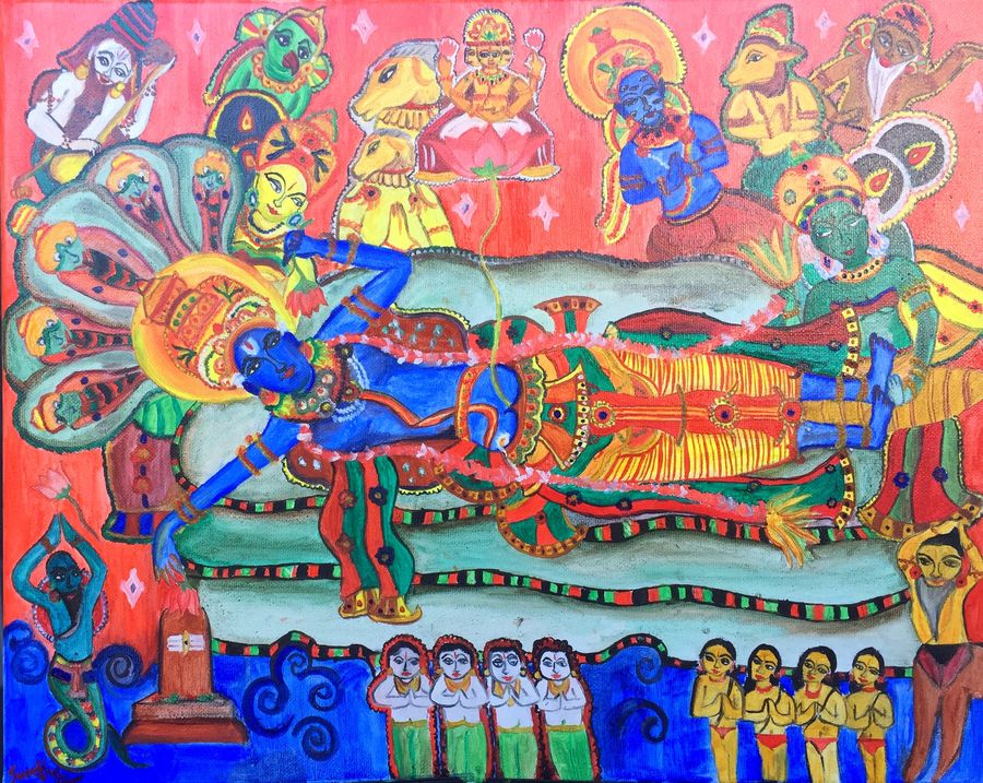 ananthasayanam mural, 20 x 16 inch, swetha srinivasan,religious paintings,paintings for living room,canvas,oil paint,20x16inch,GAL012013051