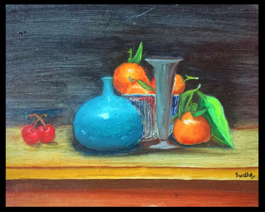 still life-4, 10 x 8 inch, swetha srinivasan,still life paintings,paintings for dining room,canvas,oil paint,10x8inch,GAL012013052