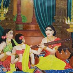 leisure time, 48 x 36 inch, neetu gupta,48x36inch,canvas,paintings,figurative paintings,folk art paintings,art deco paintings,realism paintings,love paintings,paintings for living room,paintings for bedroom,paintings for hotel,paintings for hospital,acrylic color,GAL0112330527