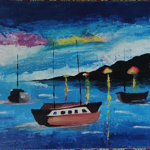 dusk by the sea, 16 x 20 inch, sohini ghosh,16x20inch,canvas,paintings,landscape paintings,paintings for living room,acrylic color,GAL01875130532