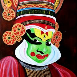 kathakali, 24 x 37 inch, revathy r,24x37inch,hardboard,paintings,abstract expressionism paintings,radha krishna paintings,paintings for dining room,paintings for living room,paintings for bedroom,paintings for office,paintings for hotel,acrylic color,GAL01321430534
