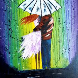 couple in rain, 24 x 37 inch, revathy r,24x37inch,hardboard,paintings,love paintings,paintings for dining room,paintings for living room,paintings for bedroom,paintings for office,acrylic color,GAL01321430538