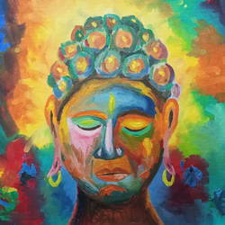 buddha, 20 x 16 inch, sumit chandel,20x16inch,canvas board,paintings,buddha paintings,paintings for dining room,paintings for living room,paintings for bedroom,paintings for office,paintings for kids room,paintings for hotel,paintings for kitchen,paintings for school,paintings for hospital,oil color,GAL01824230541