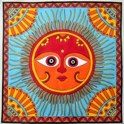 cute sun madhubani painting 3, 11 x 11 inch, geeta kwatra,11x11inch,drawing paper,paintings,madhubani paintings | madhubani art,paintings for living room,paintings for hotel,acrylic color,mixed media,GAL0899130544