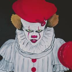 pennywise, 9 x 9 inch, pooja kharpade,9x9inch,thick paper,portrait paintings,acrylic color,GAL01894130546