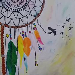 dreamcatcher, 9 x 12 inch, pooja kharpade,9x12inch,brustro watercolor paper,paintings,paintings for living room,acrylic color,GAL01894130547