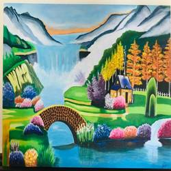 waterfall, 36 x 24 inch, shilpa chavan,36x24inch,canvas,paintings,landscape paintings,acrylic color,GAL01899130549