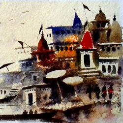 varanasi ghat 10, 7 x 10 inch, girish chandra vidyaratna,landscape paintings,paintings for living room,horizontal,handmade paper,watercolor,7x10inch,GAL0363056