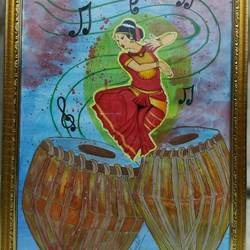 music, 13 x 19 inch, arushi chaudhary,13x19inch,hardboard,paintings,folk art paintings,paintings for living room,paintings for hotel,mixed media,pastel color,pencil color,watercolor,GAL01902730568