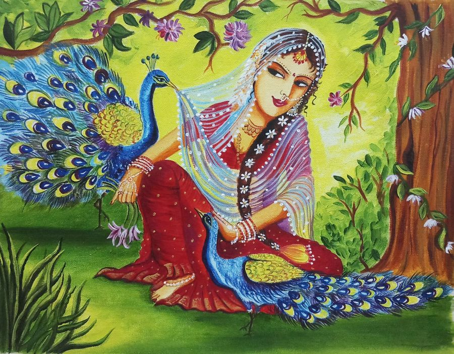 lady with peacock, 16 x 20 inch, sandhya kumari,16x20inch,canvas,paintings,wildlife paintings,figurative paintings,flower paintings,conceptual paintings,portrait paintings,nature paintings | scenery paintings,animal paintings,realistic paintings,love paintings,paintings for dining room,paintings for living room,paintings for bedroom,paintings for office,paintings for kids room,paintings for hotel,paintings for kitchen,acrylic color,GAL0365930571