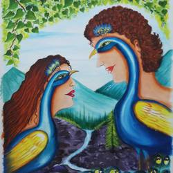 peacock love moments, 16 x 20 inch, sandhya kumari,16x20inch,canvas,paintings,wildlife paintings,figurative paintings,flower paintings,landscape paintings,modern art paintings,portrait paintings,nature paintings | scenery paintings,animal paintings,love paintings,paintings for dining room,paintings for living room,paintings for bedroom,paintings for office,paintings for kids room,paintings for hotel,paintings for kitchen,paintings for school,paintings for hospital,acrylic color,GAL0365930572