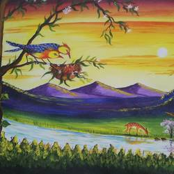 landscape evening painting, 18 x 24 inch, sandhya kumari,18x24inch,canvas,paintings,wildlife paintings,figurative paintings,flower paintings,landscape paintings,nature paintings | scenery paintings,animal paintings,love paintings,paintings for dining room,paintings for living room,paintings for bedroom,paintings for office,paintings for kids room,paintings for hotel,paintings for kitchen,paintings for school,paintings for hospital,acrylic color,GAL0365930575