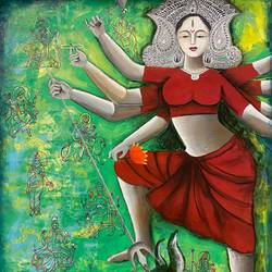 contemporary durga- the supreme one, 30 x 36 inch, kangana vohra,30x36inch,canvas,paintings,figurative paintings,modern art paintings,religious paintings,contemporary paintings,paintings for dining room,paintings for living room,paintings for bedroom,paintings for office,paintings for kids room,paintings for school,paintings for hospital,acrylic color,charcoal,ink color,GAL0725830576