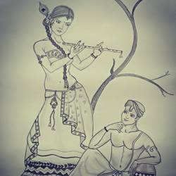childhood love, 13 x 19 inch, arushi chaudhary,13x19inch,thick paper,drawings,radha krishna drawings,paintings for dining room,paintings for living room,paintings for bedroom,charcoal,GAL01902730582