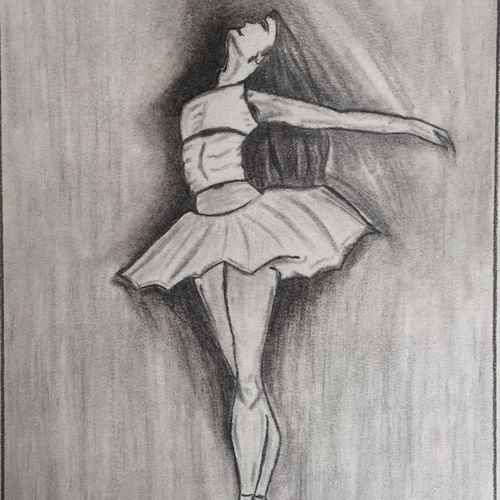 a dancing girl , 10 x 14 inch, p sisira,abstract drawings,paintings for bedroom,thick paper,charcoal,10x14inch,GAL011603059