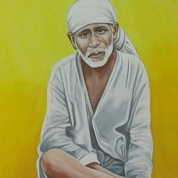 sri saibaba, 22 x 28 inch, sujitha artgallery,22x28inch,thick paper,figurative paintings,paintings for living room,paintings for living room,watercolor,GAL049630590