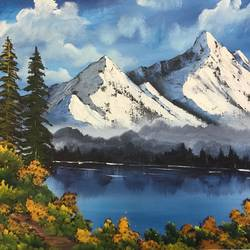 mountain lake, 24 x 18 inch, shankhadeep  mondal,24x18inch,canvas,paintings,landscape paintings,paintings for dining room,paintings for living room,paintings for bedroom,paintings for office,paintings for bathroom,paintings for kids room,paintings for hotel,paintings for kitchen,paintings for school,paintings for hospital,acrylic color,GAL01403030591
