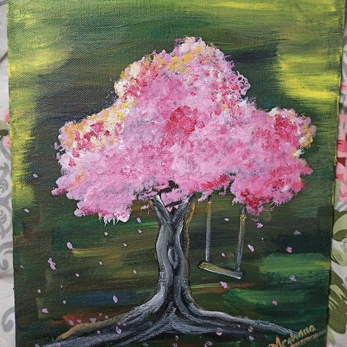 a cherry blossom tree, 10 x 12 inch, meghana m,10x12inch,canvas,paintings,nature paintings | scenery paintings,paintings for dining room,paintings for living room,paintings for bedroom,paintings for office,paintings for bathroom,paintings for kids room,paintings for hotel,paintings for kitchen,paintings for school,paintings for hospital,acrylic color,GAL01904130593