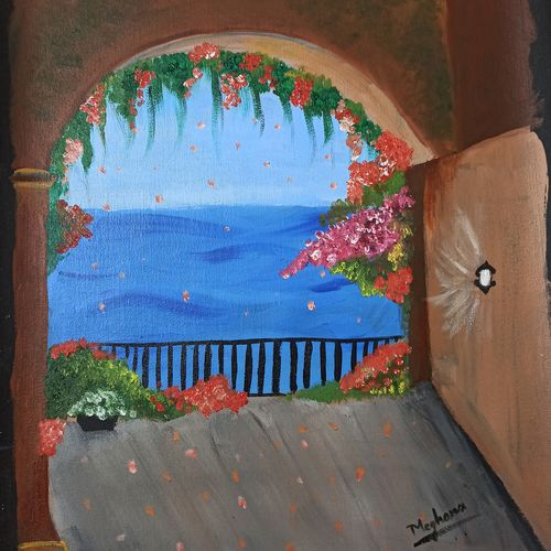 beach view of a spring summer, 16 x 20 inch, meghana m,16x20inch,canvas,paintings,landscape paintings,nature paintings   scenery paintings,paintings for dining room,paintings for living room,paintings for bedroom,paintings for office,paintings for bathroom,paintings for kids room,paintings for hotel,paintings for kitchen,paintings for school,paintings for hospital,acrylic color,GAL01904130595