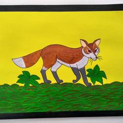 fox's trot, 11 x 8 inch, geeta kwatra,11x8inch,handmade paper,paintings,animal paintings,paintings for kids room,acrylic color,mixed media,GAL0899130599